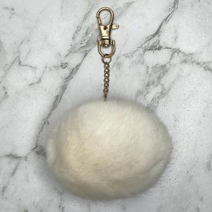 Cream White Fluffy Keyring Bag Charm Round Ball